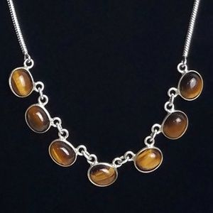Tiger's Eye Sterling Silver Snake Chain Necklace